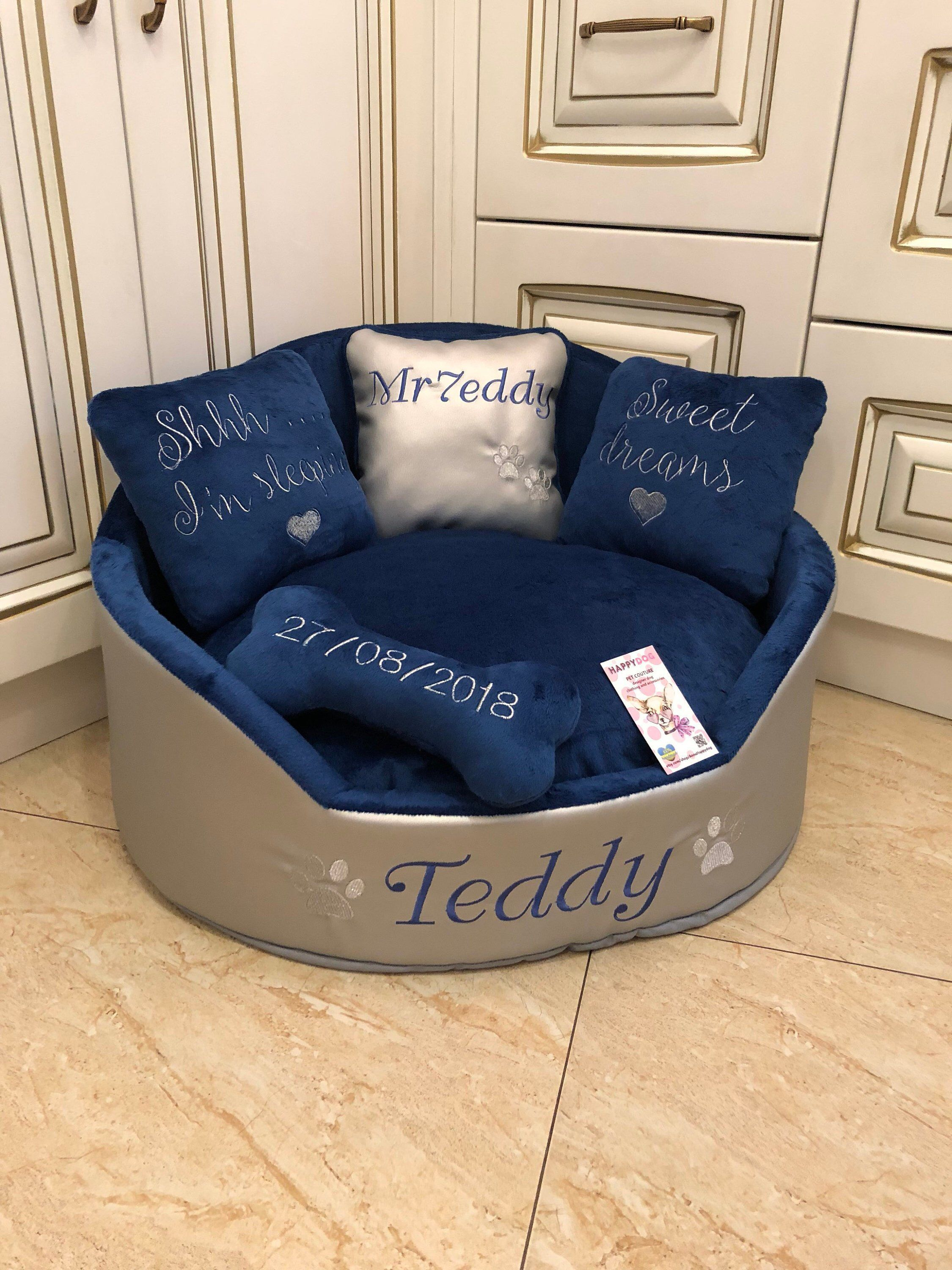 Silver And Navy Blue Luxury Dog Bed Faux Leather Pet Bed Designer