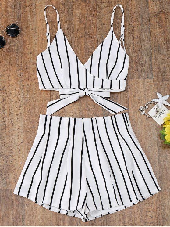 73ba97d857 Striped Cami Wrap Top With Shorts. #Zaful #CoverUps zaful,zaful outfits,zaful  dresses,spring outfits,summer dresses,Valentine's Day,valentines day ideas  ...
