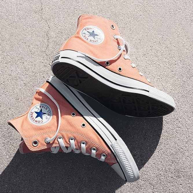33 Ideas How To Make Your Life Bright With A Peach Color Peach Sneakers Design sneakers converse Discover cobalt blue inspo  From interior decor to fashion outfit and shoes ideas to hair shades     add this hue to your life  peachcolor colorcombinatio