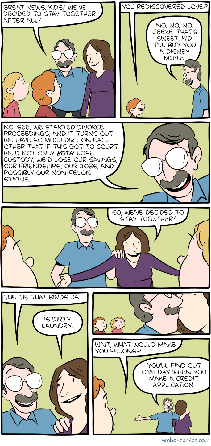 Saturday morning breakfast cereal together click here to go see the bonus panel hovertext if i ever do get a divorce the quantity of evidence against me