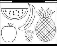 Fruits Coloring and Tracing 4 Preschool Worksheets