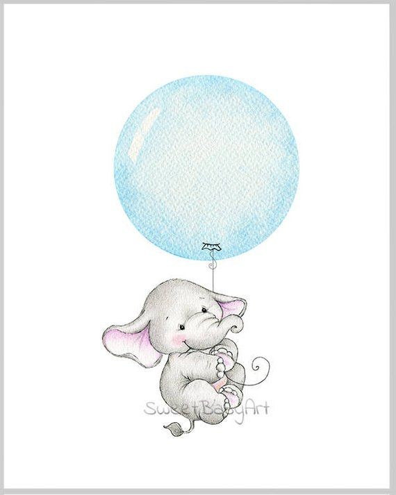 Baby Elephant Nursery Print, Children Wall Decor, Kids Wall Art, Baby Room Wall Art, Animal Illustration, Watercolor balloon print