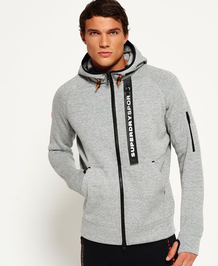 Shop Superdry Mens Gym Tech Panel Zip Hoodie in Grey Grit. Buy now with  free delivery from the Official Superdry Store.