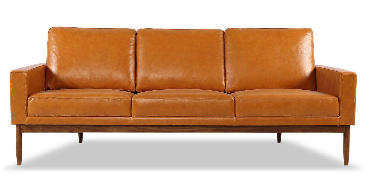 Stilt Danish Mod Sofa Tan Aniline Leather Walnut Leather Sofa Mid Century Modern Furnishing Tan Leather Sofas