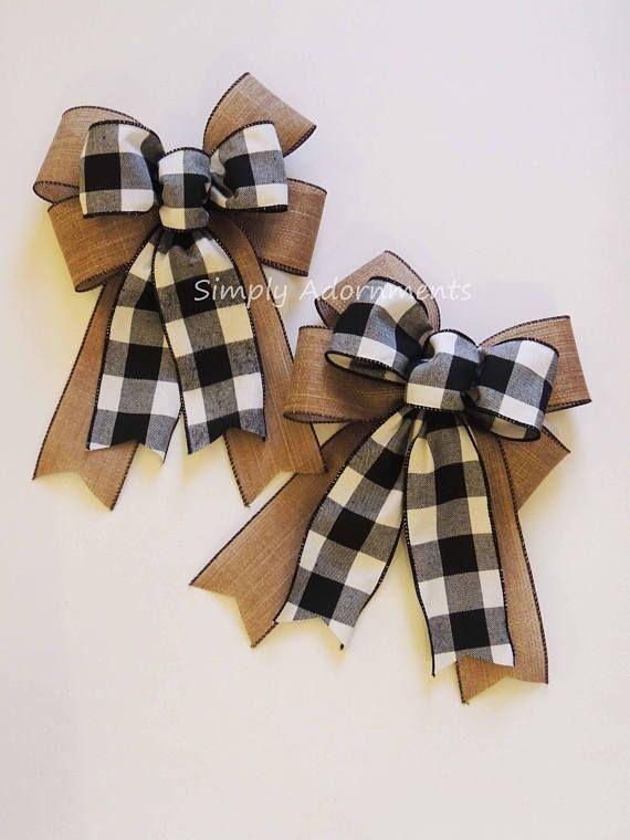 Black White Buffalo Plaid Sparkle Burlap Bow Black White Buffalo Check Christmas Wreath Bow Black White Check Flannel Bow Cabin Check Bow #howtomakeabowwithribbon