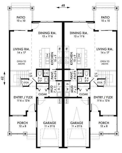 Plan No 591009 House Plans By Westhomeplanners Com Duplex House Plans House Plans Duplex Floor Plans