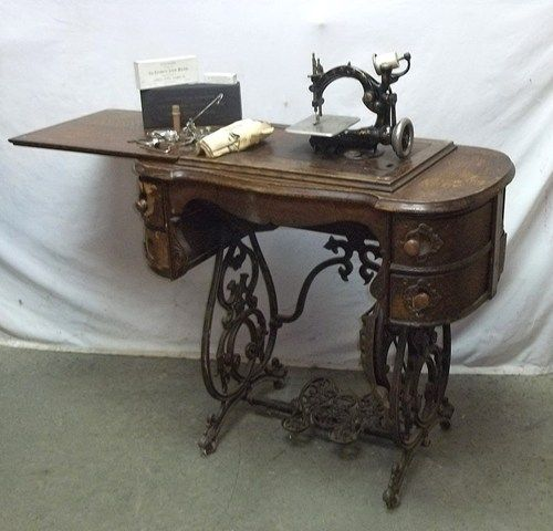 National B Eldredge Treadle Sewing Machine Cast Iron Table Base with Wilcox Gibbs Sewing Machine