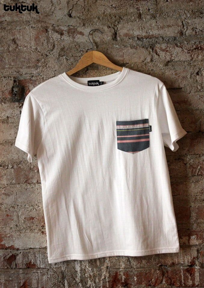 tuktuk White Pocket Patch T-Shirt