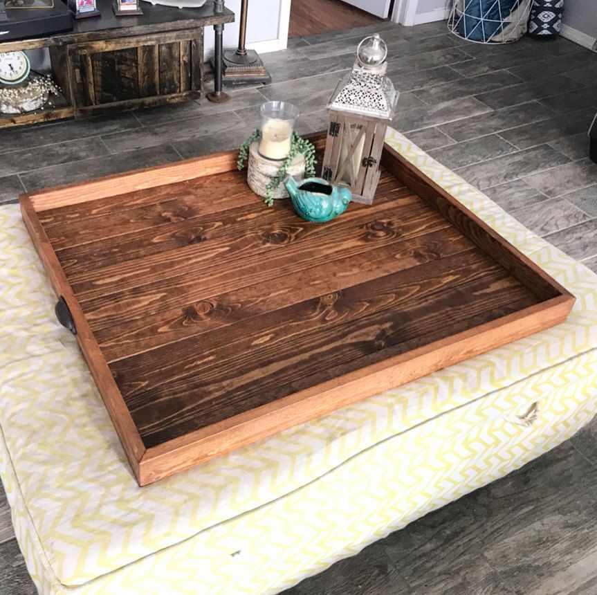 Ottoman Tray Oversized Handcrafted Wooden Ottoman Trays Ottoman Tray Coffee Table Square Rustic End Tables