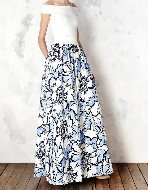 Spodnica Maxi W Blekitne Kwiaty Kasia Miciak Design Showroom High Waisted Skirt Floral Skirt Skirts
