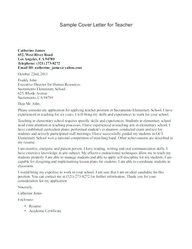 Sample Cover Letter Ireland Teaching Job