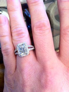 What A Gorgeous Radiant Halo Split Shank Engagement Ring