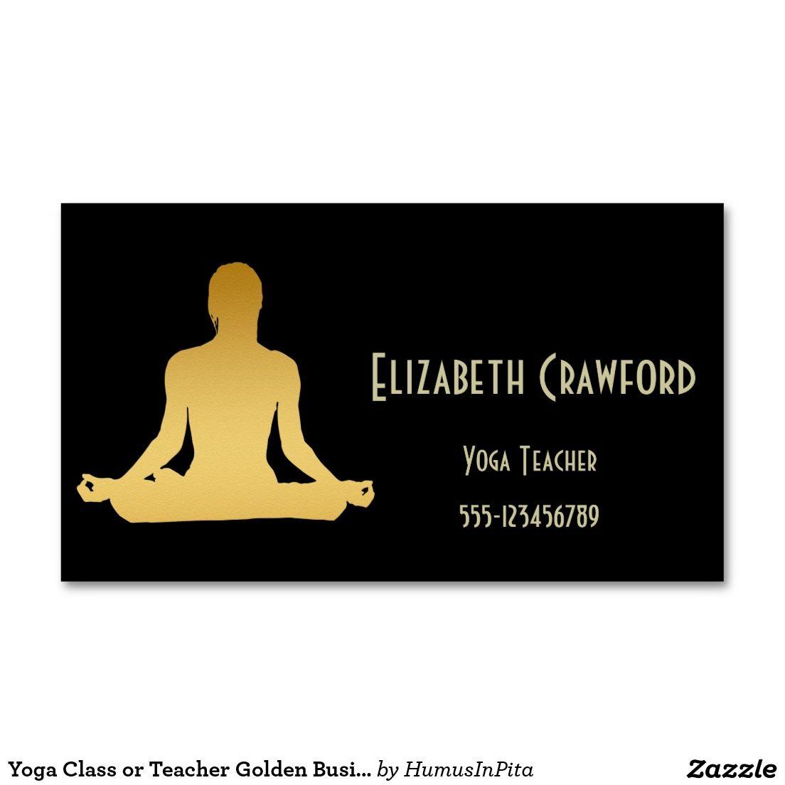 Yoga Class or Teacher Golden Business Card | Business cards and Business