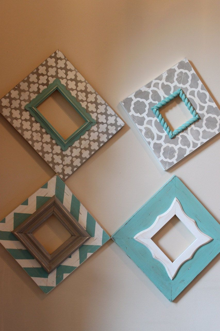 Distressed Frames: Set of Modern Funky Pattern In Grey and Turquoise ...