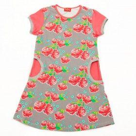 da9c89ccbf9e8e Ninie kinderkleding jurkje Lotte taupe met rode pioen rozen ...