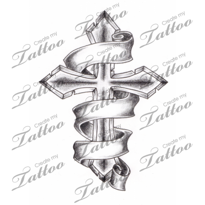 marketplace tattoo shaded cross with 3 banners 2944 rh pinterest com cross tattoos with 3 banners cross tattoos with banners designs