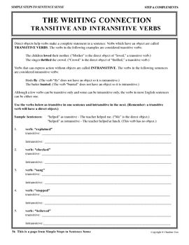 Transitive And Intransitive Verbs Grammar Worksheets