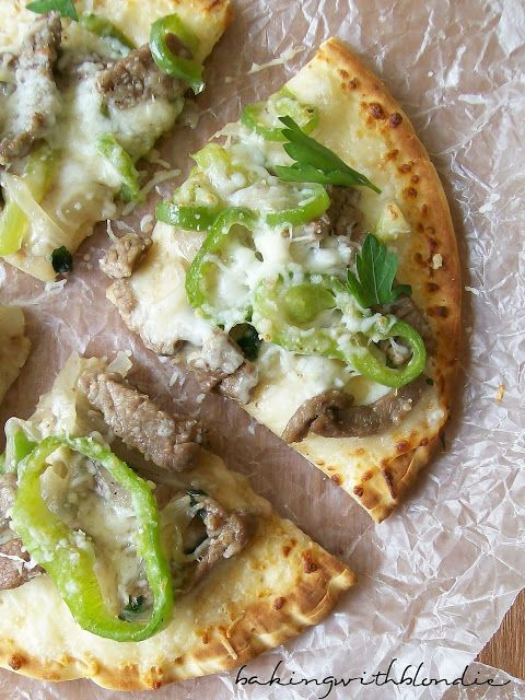 Philly Cheesesteak Pita-Bread Pizza   Easy to make and delicious.