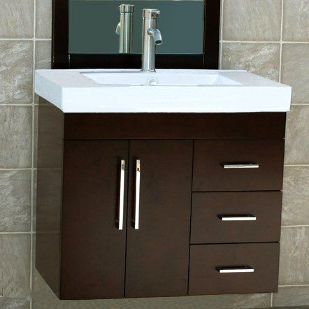 30 bathroom vanity wall mount solid wood cabinet ceramic top sink neris Solid wood bathroom vanities cabinets