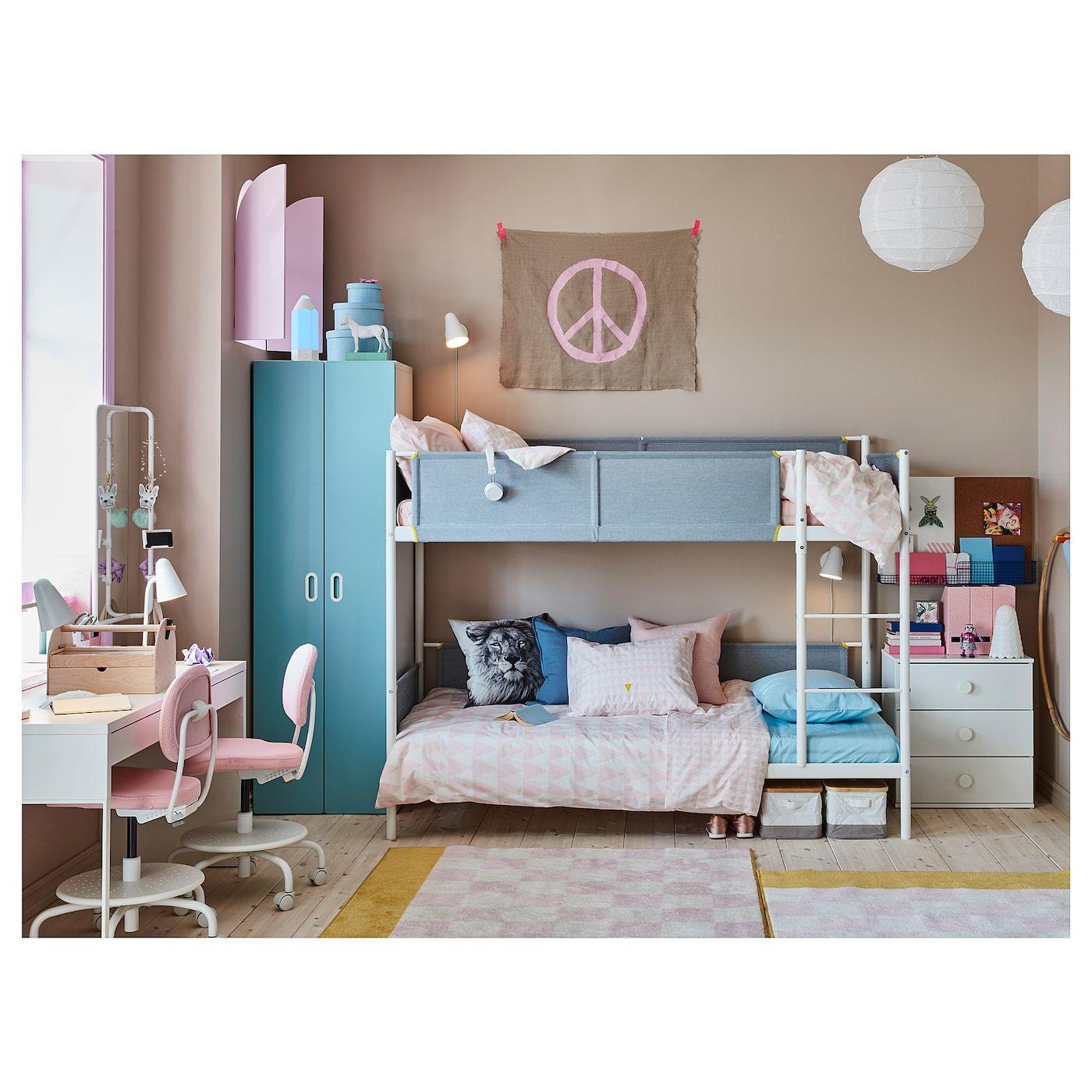 Ikea Vitval Bunk Bed Frame White Light Gray Teenage