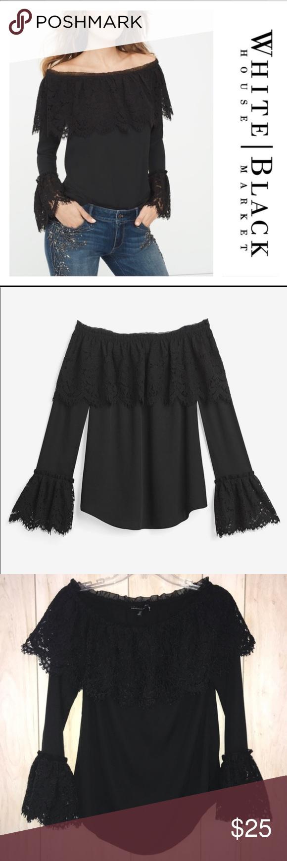 fdf8f5e564db0 WHBM Black Off-The-Shoulder Lace Trim Top White House Black Market Lace  ruffle