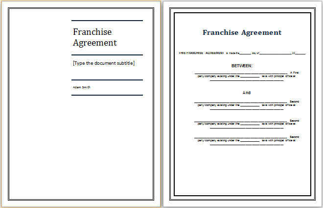 Franchise Agreement Template Franchise Contract With Sample