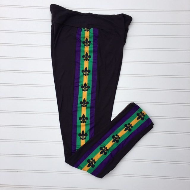 Women's Leggings - Mardi Gras Leggings - Racing Stripe Leggings - Fleur de Lis Leggings - Purple Green Gold - New Orleans Leggings - Legging #stripedleggings