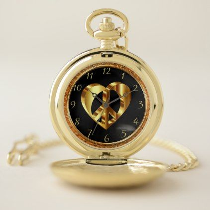 Gold Heart With Gold Peace Sign Inside 4 Pocket Watch Metal Peace Sign With Color On Inside
