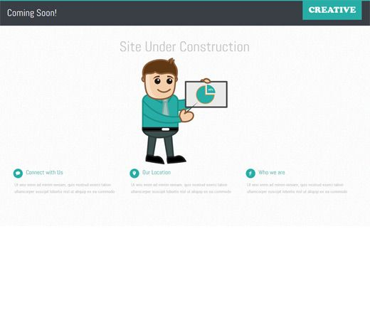 Creative Under Construction Free Responsive Html5 Css3 Mobileweb Template