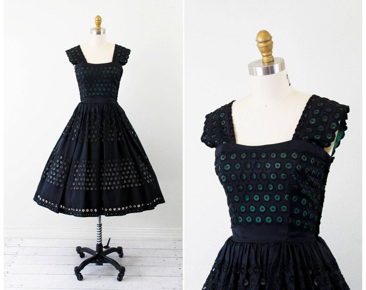 S dress s dress black and green eyelet taffeta party dress