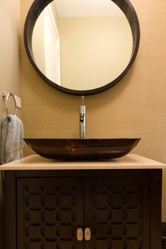 Transitional powder room renovation in chicago bathrooms - Powder room sink ideas ...
