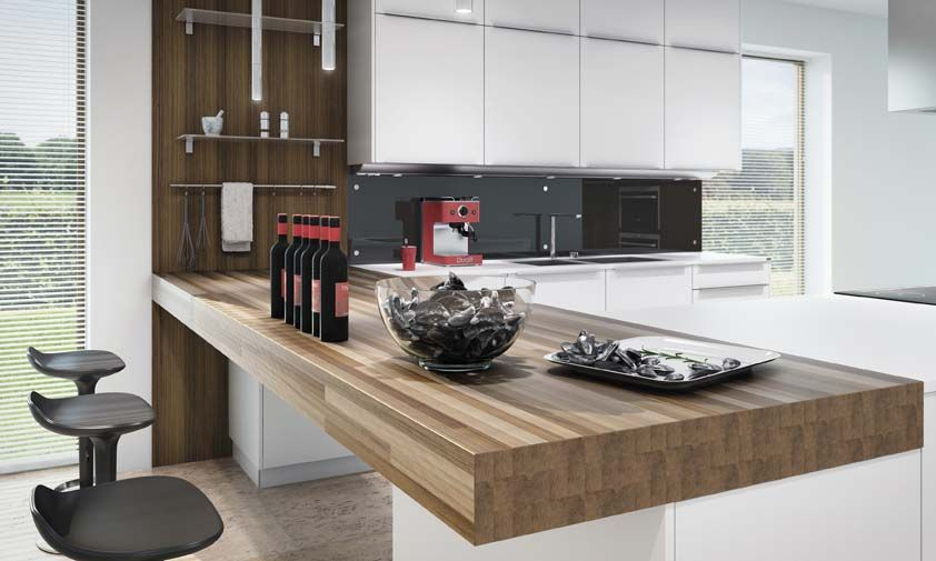 Modern Kitchen Bar wood and stone bench top modern kitchen | kitchens | pinterest