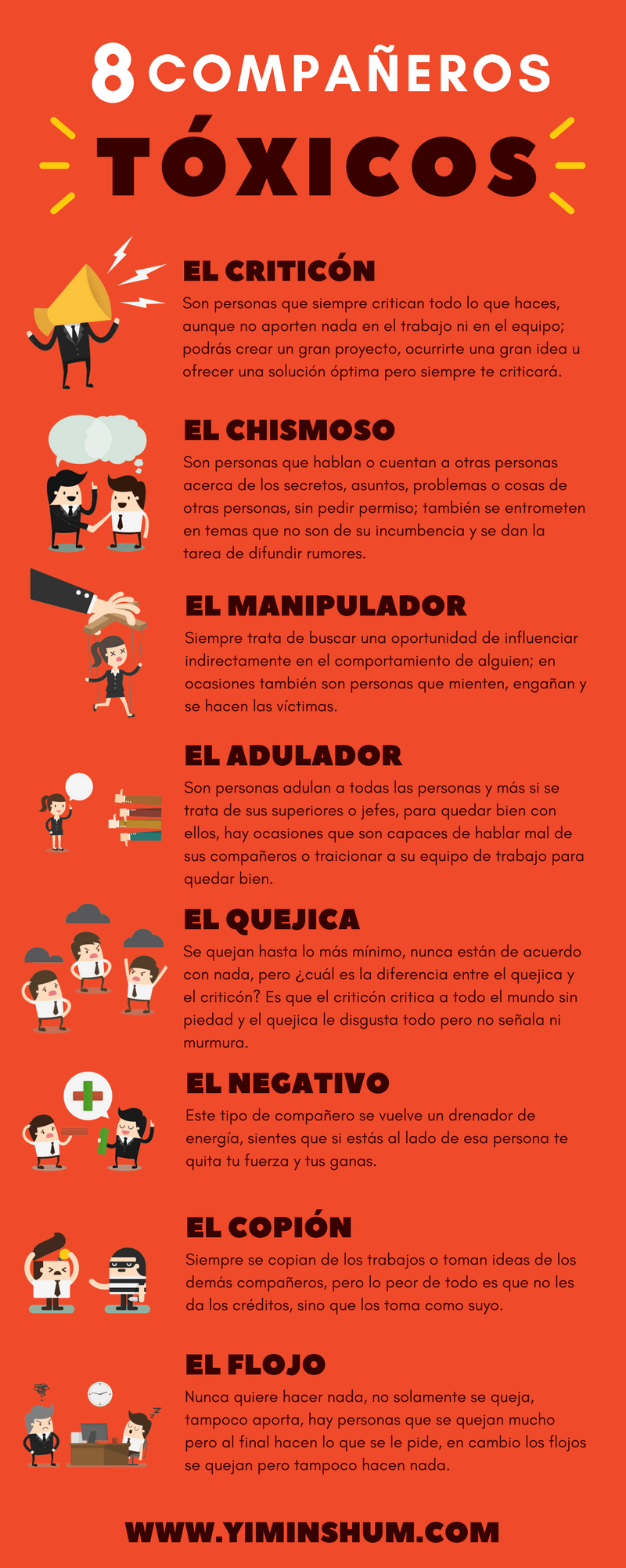 a37e4e47cd26 Hola: Una infografía con 8 compañeros de trabajo tóxicos. Vía Un saludo  Anuncios Relacionado