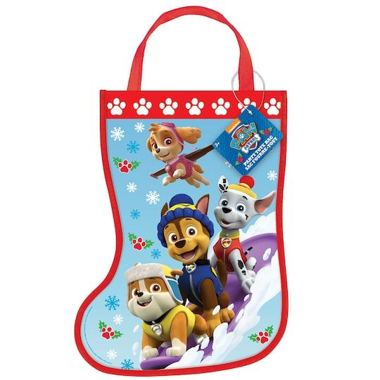 Plastic Paw Patrol Christmas Stocking Favor Bag, 13  X 9 5  By Nickelodeon   Michaels® - Paw patrol christmas, Christmas goodie bags, Goodie bags, Paw patrol, Christmas stockings, Paw patrol party supplies - Surprise puppy lovers at a Christmas party with our PAW Patrol Stocking Goody Bag  For PAW Patrol themed Christmas party supplies, shop Michaels  com  Kickstart your kids holiday party fun with this awesome Plastic PAW Patrol Christmas Stocking Favor Bag  Featuring Chase, Marshall, Skye, and Rubble, this colorful stockingshaped loot bag will fill your little boy or girl with excitement  Get enough favor bags for everyone at your kids holiday party or Christmas dinner  You can add candy canes and small favors to each bag for guests to take home with them  Or, let children use empty favor bags to stow their party prizes, game winnings, and pinata filler  Details • 1 Plastic PAW Patrol Christmas Stocking Favor Bag • PAW Patrol Christmas Goodie Bag measures 13  x 9 5  • Fun for a kids Christmas party or your child's December birthday party • Pop in a few candies and small treats for your party guest • Plastic Christmas Stocking is not intended to be hung up like a traditional stocking • Coordinate with more Christmas party supplies and PAW Patrol party favors   Plastic Paw Patrol Christmas Stocking Favor Bag, 13  X 9 5  By Nickelodeon   Michaels®