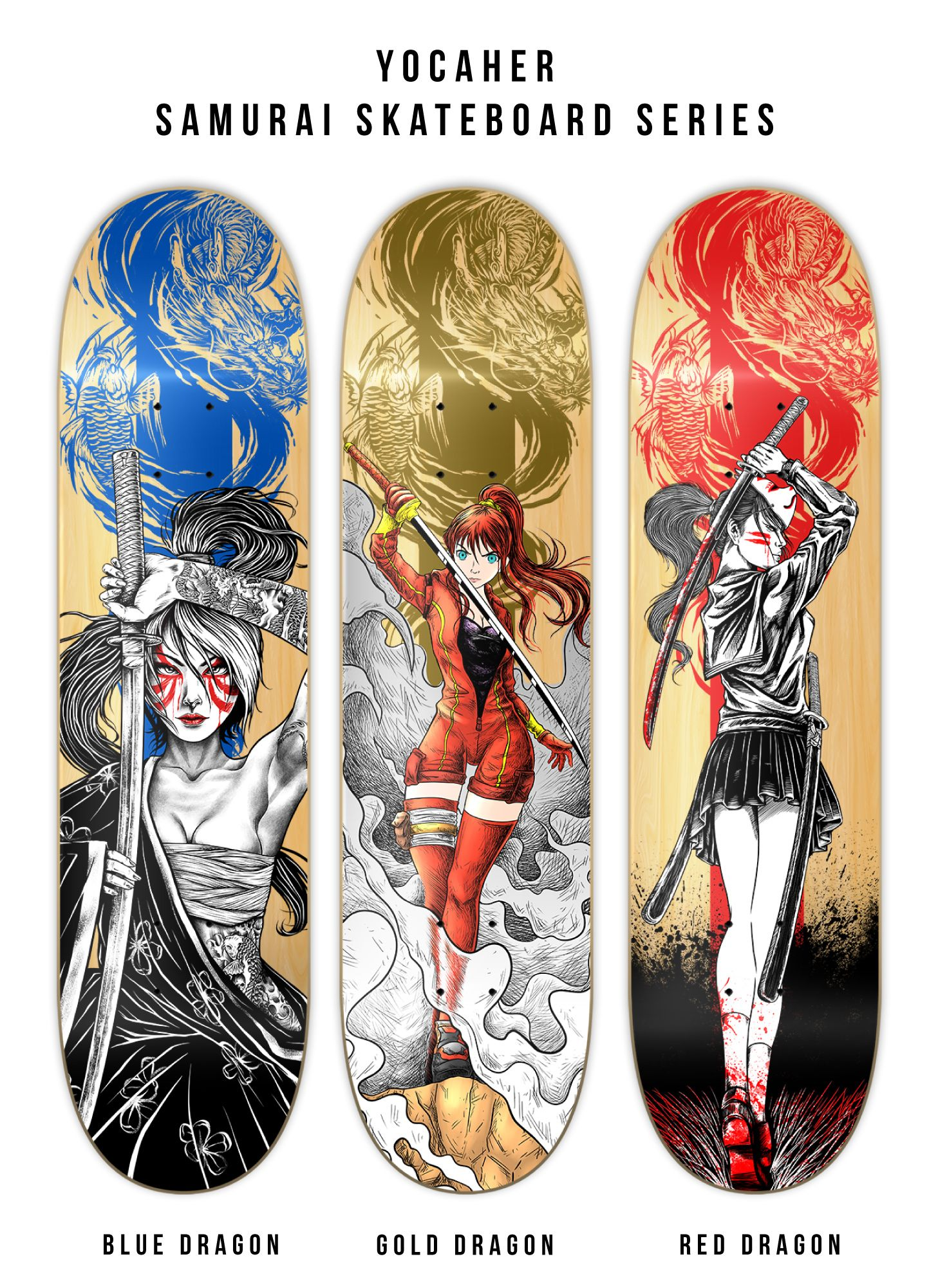 "Girl Samurai Red Dragon Yocaher 7.75/"" Graphic Complete Skateboard"