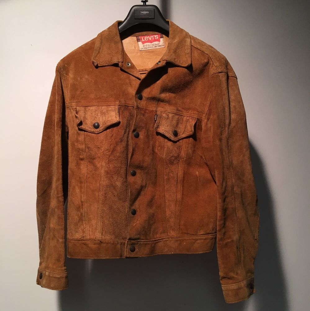 Levis Vintage Suede Jacket Big E 60 S Leather Usa Trucker Cropped Mens Size Xl Levis Basicjacket Vintage Suede Jacket Vintage Suede Usa Leather