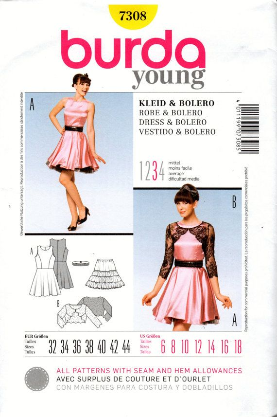 7308 Burda Uncut Sewing Pattern Young Fashion Dress and Bolero ...
