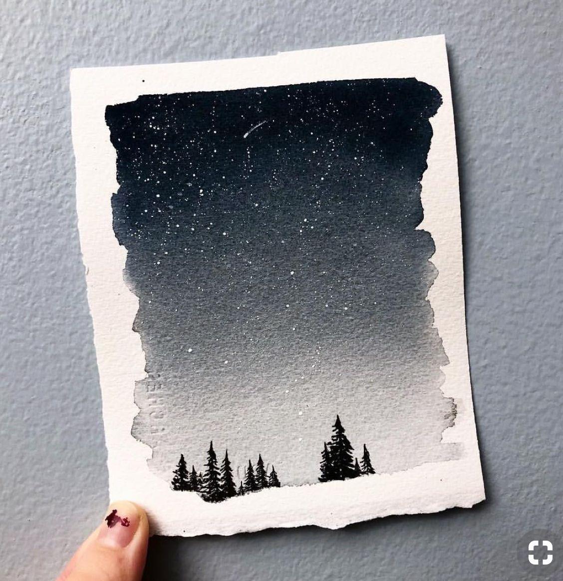 Done Aquarelle Encre Blanche Peinture Ciel De Nuit Paysage
