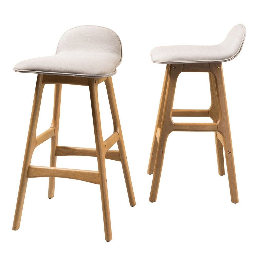 Set Of 2 Anatoli Bar Chair Beige Christopher Knight Home Bar Chairs Bar Stools Chair Leg Floor Protectors