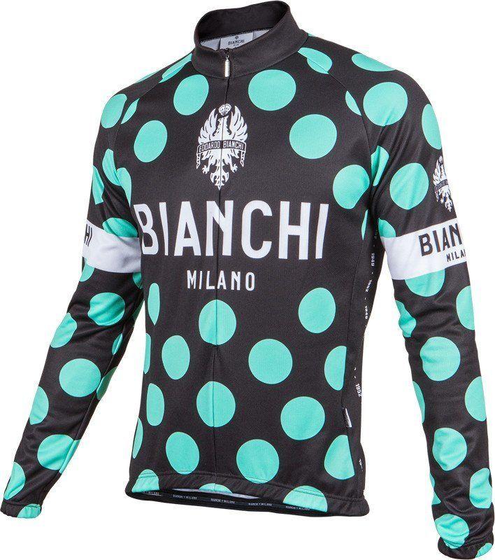 Bianchi Milano PRIDE Short Sleeve Summer Cycling Jersey BLACK//CELESTE Polka DOTS