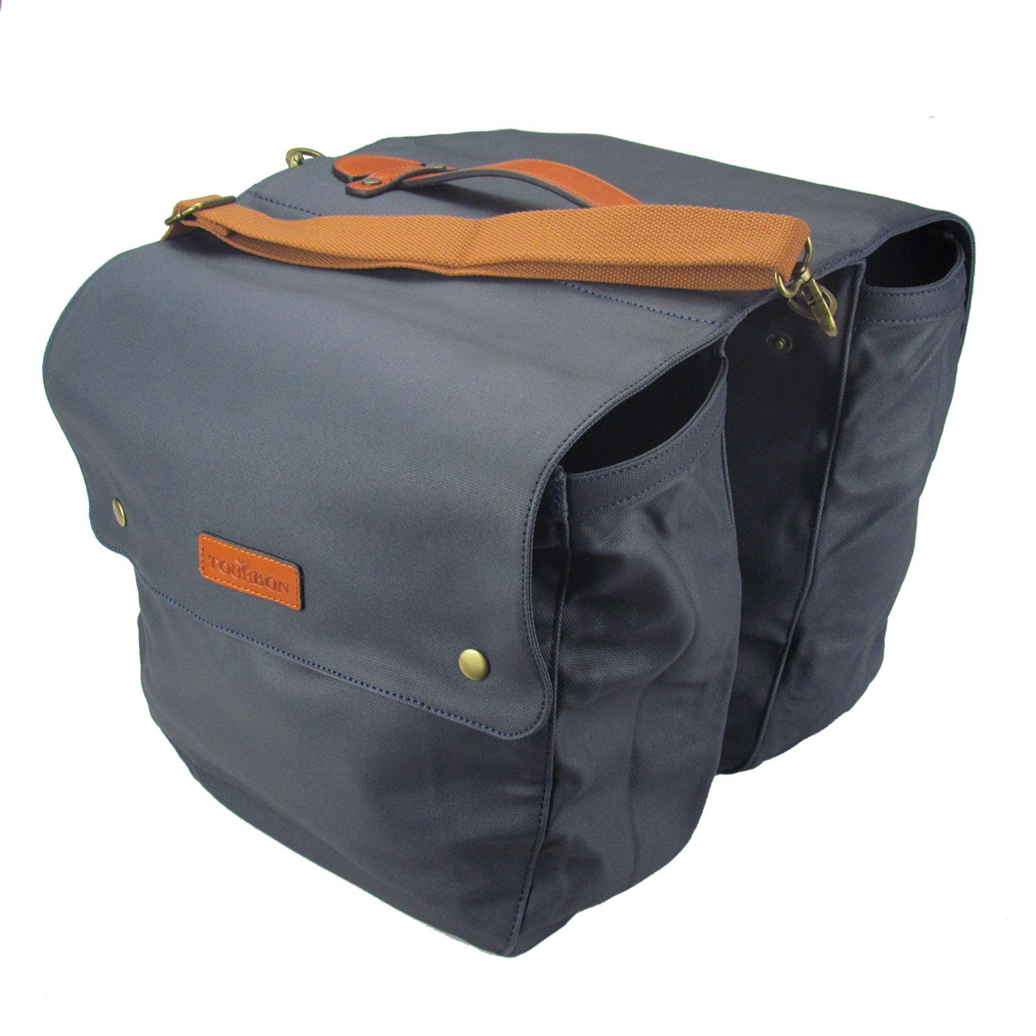 Tourbon Waterproof Canvas Bicycle Bike Rear Seat Carrier Bag Cycling Double Roll-up Pannier Bag Pack- Navy Blue