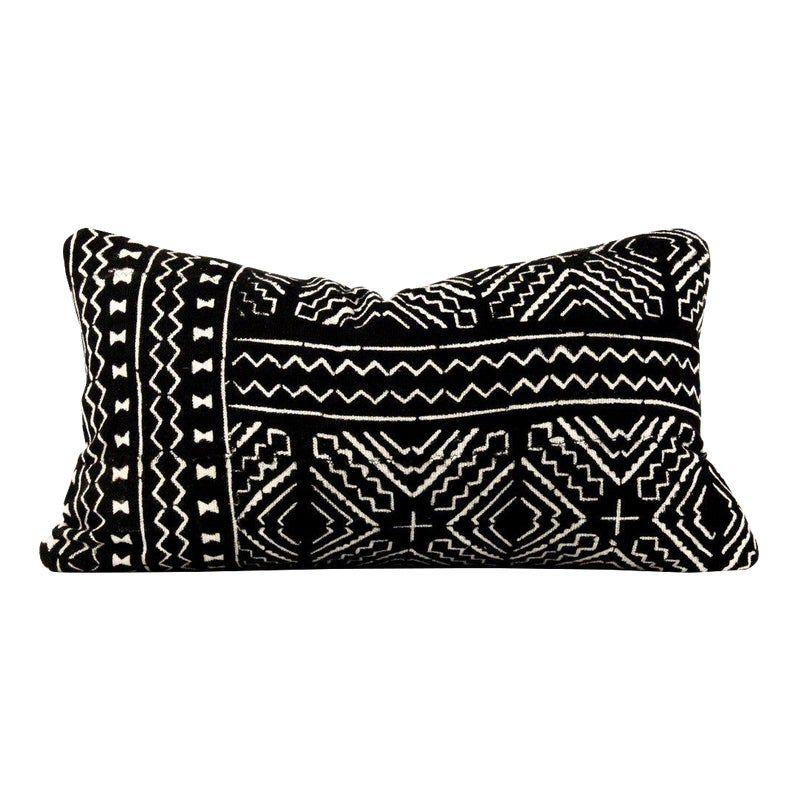 Boho Chic Black African Mudcloth Lumbar Pillow – Comforters
