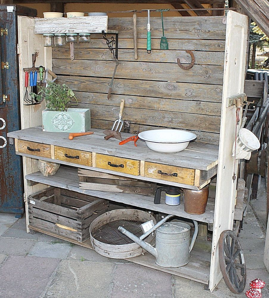 Pflanztisch Blumenbank Gartnertisch Gartentisch Handmade Vintage Gartendeko Holz Pflanztisch Gartentisch Gartendeko Holz