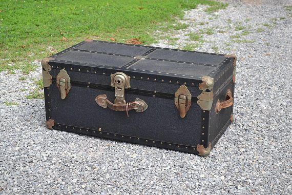 Vintage Black Footlocker Storage Trunk Wood Textured Vinyl Covering Rivets  Metal Hardware Drawer Coffee Table PanchosPorch