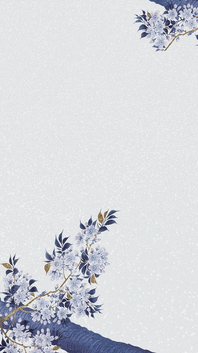 Download premium image of Blue cherry blossom branch illustration on blue background  by katie about Phone wallpaper blue floral, blossom, blue, photo frame template aesthetic, and flower background 2441801