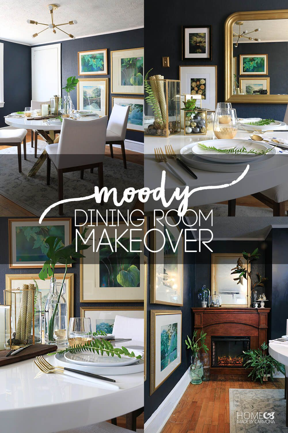 Dining Room Makeover Custom Moody Dining Room Makeover  Dark Walls Greenery And Funky Junk Inspiration Design