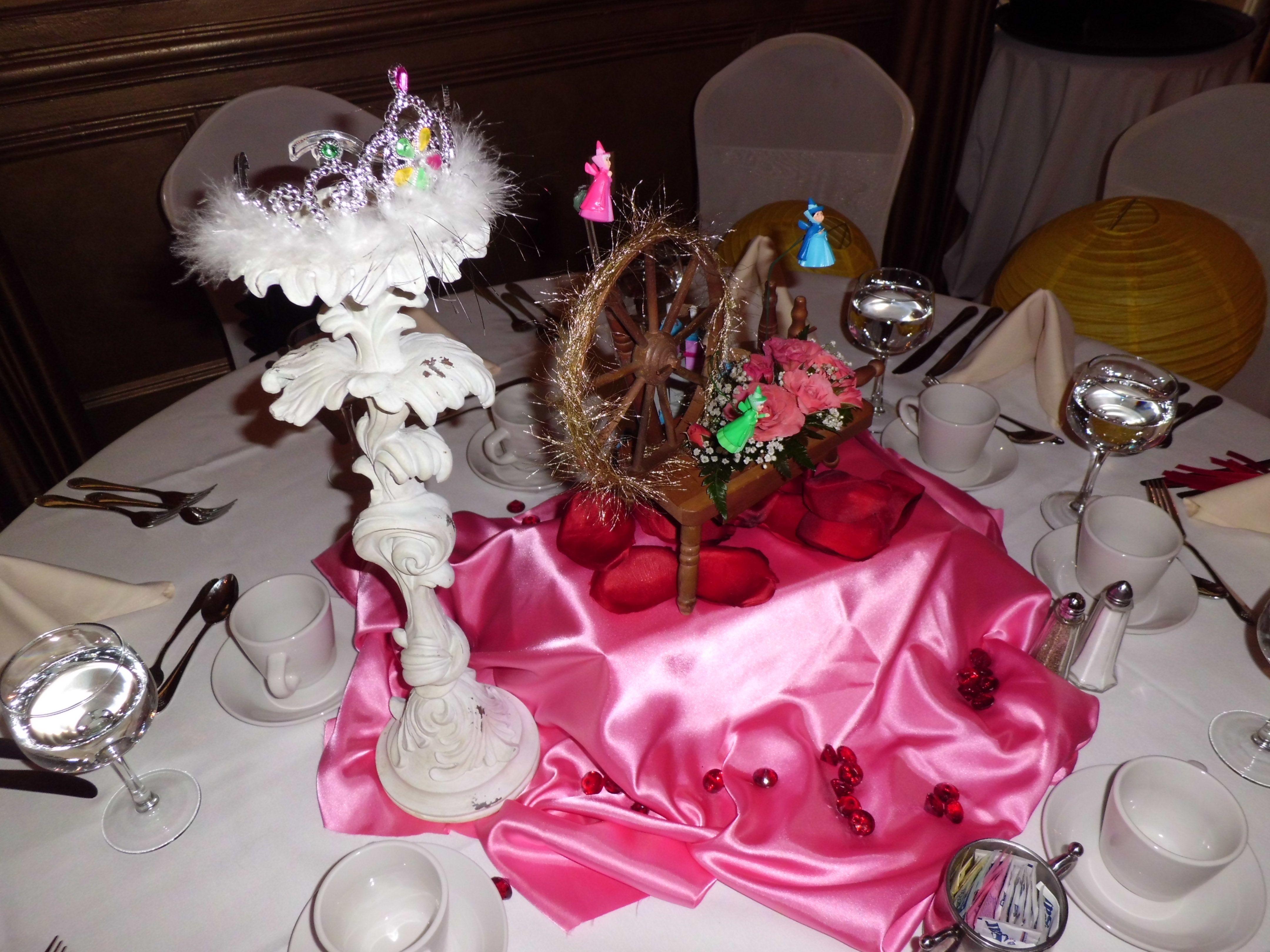 Princess aurora sleeping beauty centerpiece items are for Sleeping beauty wedding table
