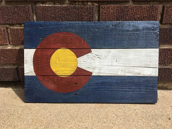 Wood Colorado Flag Wood Colorado Sign Colorado Decor 17 75 X 12 Colorado Flag Hand Painted Staining Wood