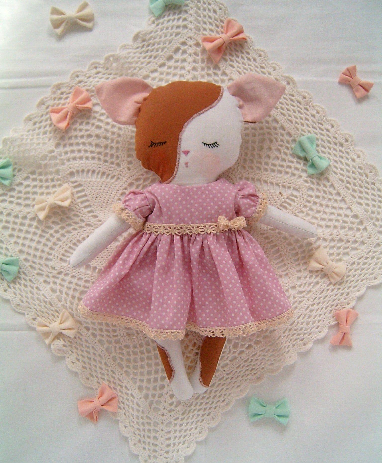 Handmade kitten baby doll, pink dress cat, soft rag, girl's first baby, sweet kitten doll, baby cat, gift for baby, girl nursery kitten, cat