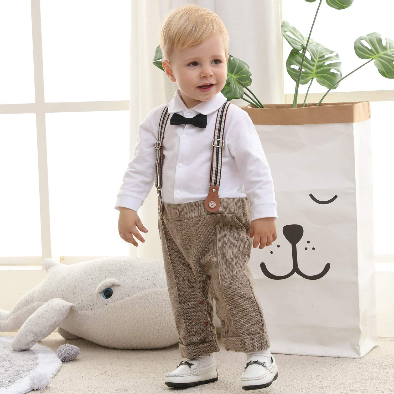 Amazon Com Zoerea Baby Boy Outfits Set 3pcs Long Sleeves Gentleman Jumpsuit Vest Coat Berets Hat With Bow Tie Lab Baby Boy Outfits Boy Outfits Vest Coat